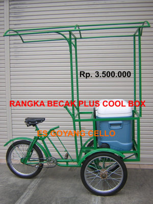 Es Goyang Cello - Rangka Becak Plus Cool Box