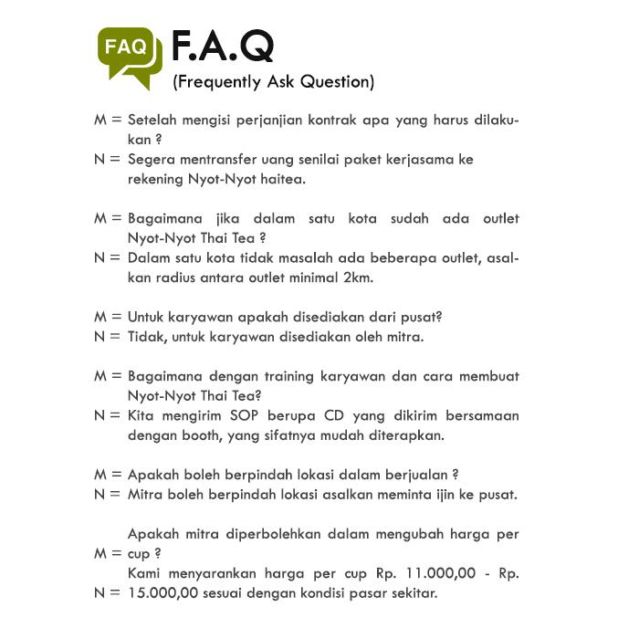 Franchise Peluang Usaha minuman teh nyot nyot thai tea FAQ